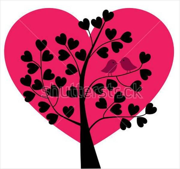 heart tree silhouette
