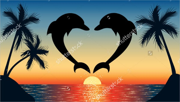 dolphin heart silhouette