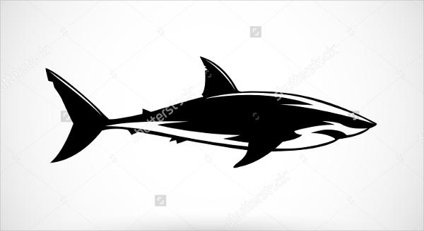 black and white shark logo