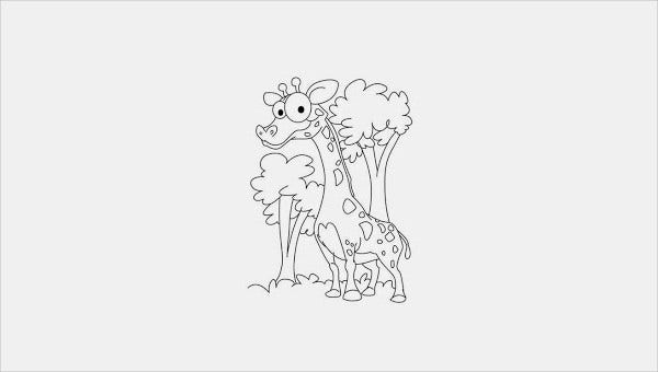 feature image for giraffie coloring pages