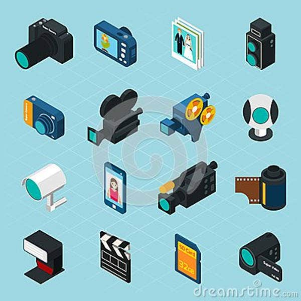 isometric video icons