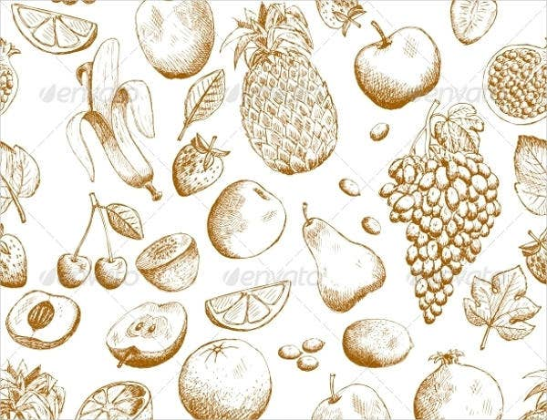 Hand Drawn Fruit Patterns