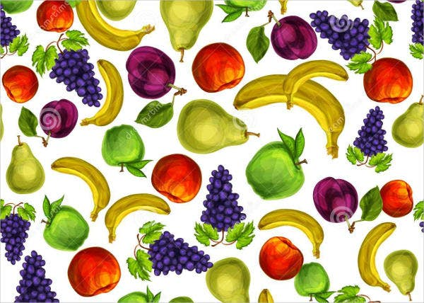 Seamless Mixed Fruit Patterns