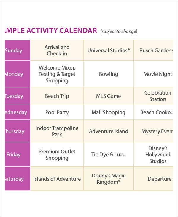 Activity Calendar Templates   Free Pdf Format Download  Free