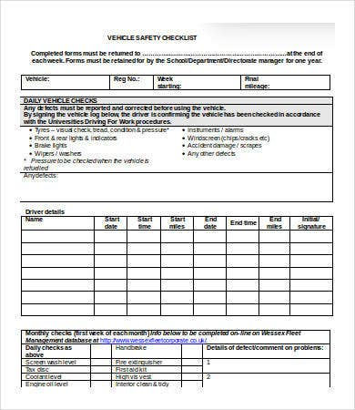 vehicle safety checklist template word