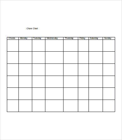 blank chore chart sample