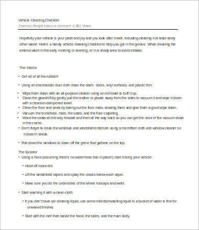 vehicle cleaning checklist template word