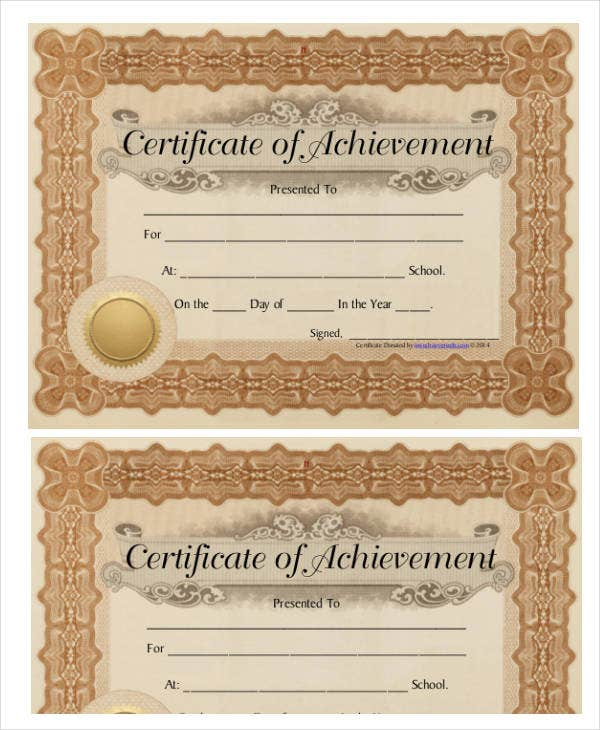 Certificate Of Achievement Template - 10+ PDF, Word, AI ...