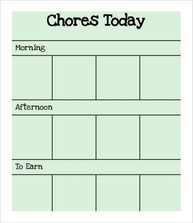 school chore chart sample1