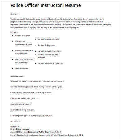 police officer instructor resume resumeslivecareercom