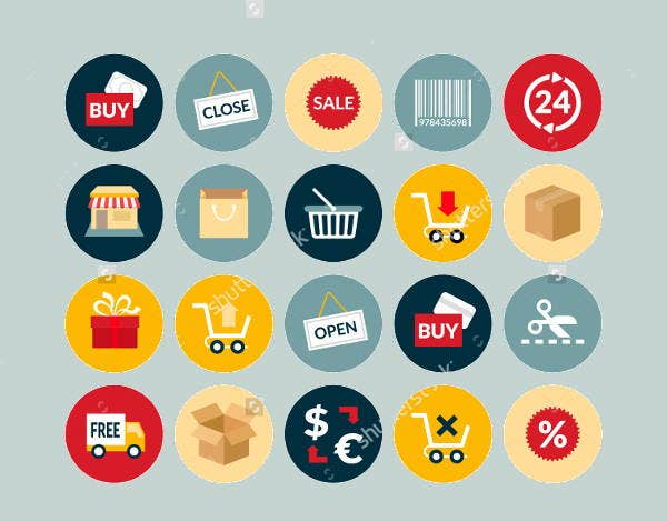flat-sales-icons-set