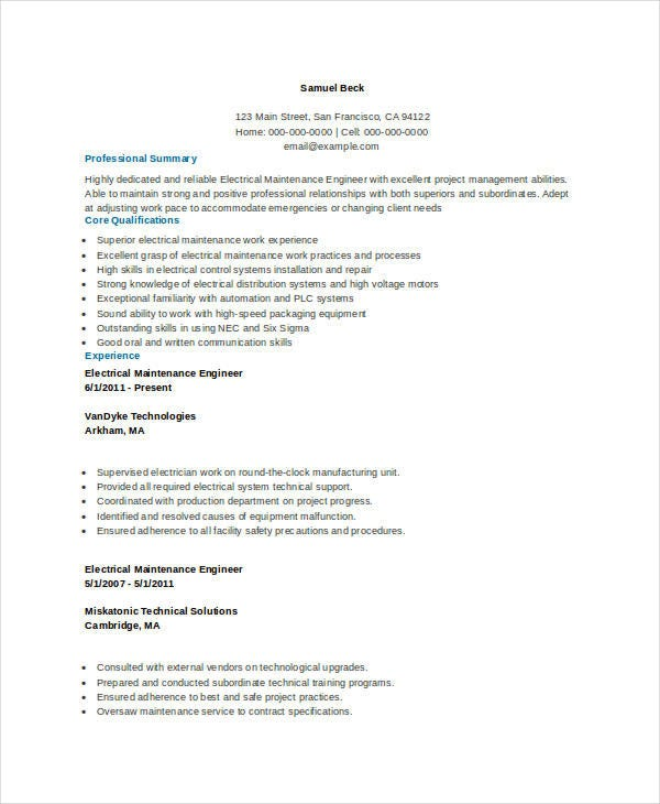 Electrical Maintenance Resume