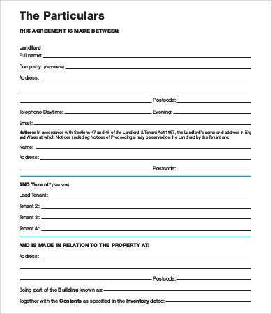 Tenancy Agreement Template 17 Free Word Pdf Documents