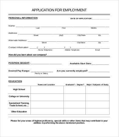 job employment application form template
