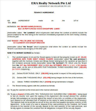 Tenancy Contract Template Standard Tenancy Agreement Template