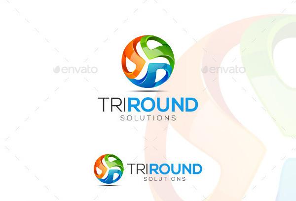 tri round logo template