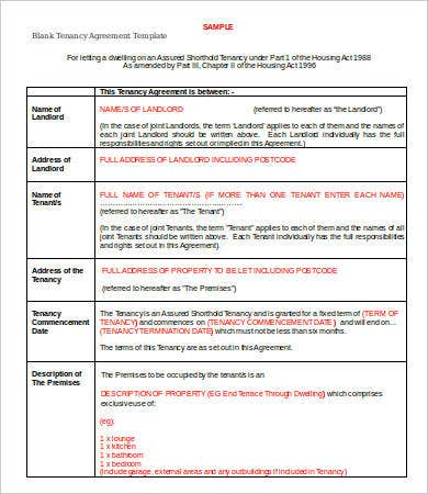 Blank Tenancy Agreement Template Tenancy Agreement Template  16 Free Word Pdf Documents Download .