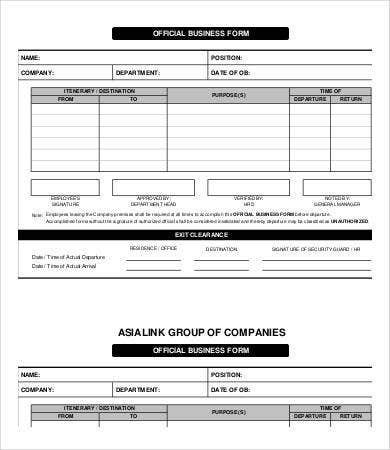 Business Form Template - 9+ Free Pdf Documents Download | Free