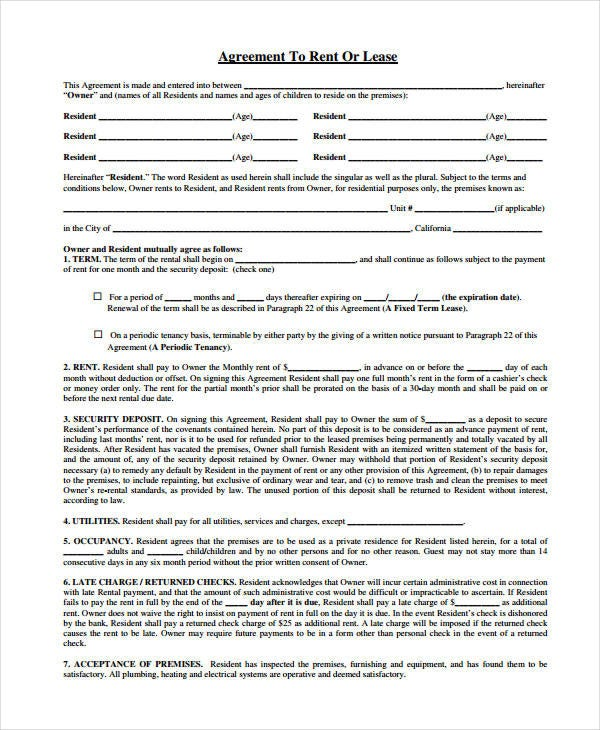 Rent Lease Agreement Form  Free Rental Lease Agreement Forms