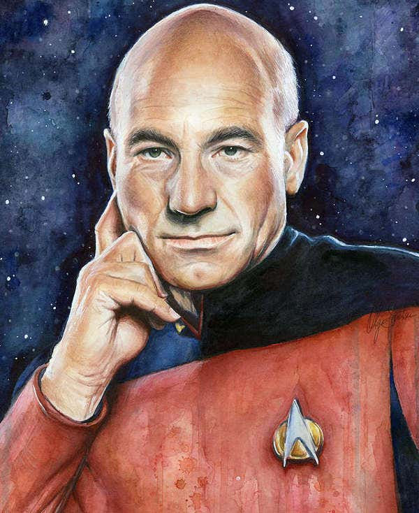Watercolor Illustration of Captain Picard