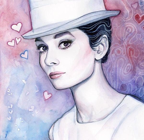 watercolor illustration of beautiful girl