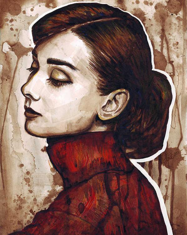 Watercolor Illustration of Audrey Hepburn