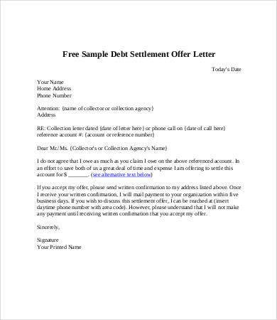 Debt letter template 7 free word pdf format download free debt settlement letter template spiritdancerdesigns Images