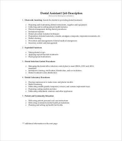 Dentist Job Description   Free Word Excel Pdf Format Download