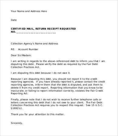 debt agency letter template