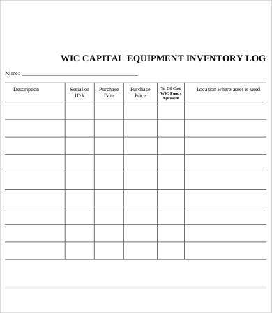 Equipment Log Template 9 Free Word Excel Pdf Format