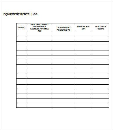 equipment log template 9 free word excel pdf format download