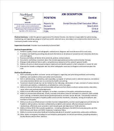 Dentist Job Description - 8+ Free Word, Excel, PDF Format Download ...