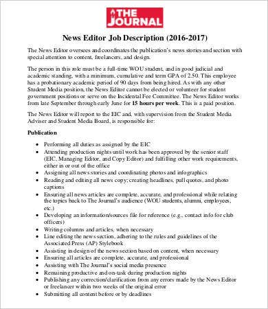 Beautiful News Editor Job Description