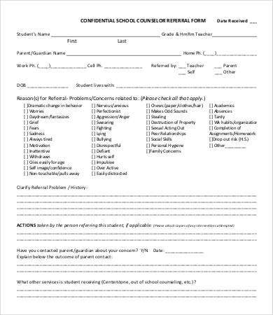 school counselor referral form template
