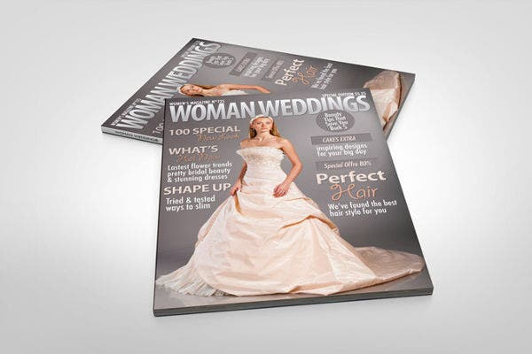 photorealistic wedding magazine mock up