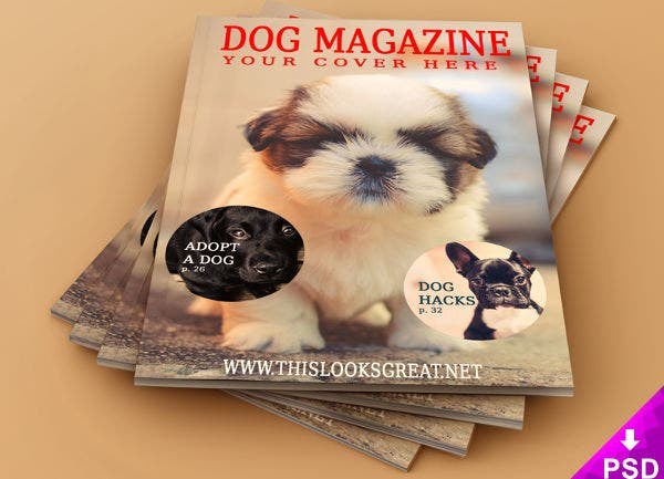 pet magazine mockup free download