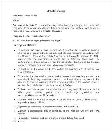 Dentist Job Description Templates  Pdf Doc  Free  Premium