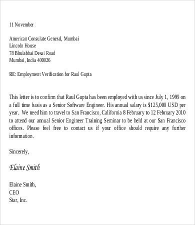 salary verification letters