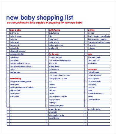 Printable Shopping List Template   Free Word Excel Pdf