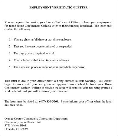 Employee Verification Letter   Free Word Pdf Documents