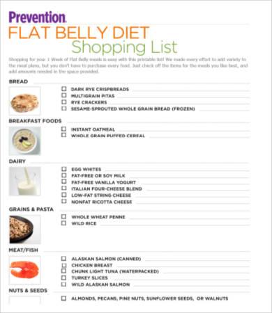 printable diet shopping list