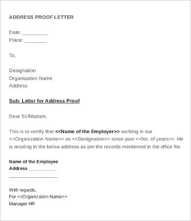 address verification letter format employee verification