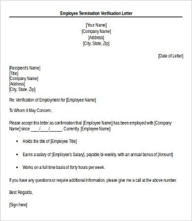 employee termination verification letter