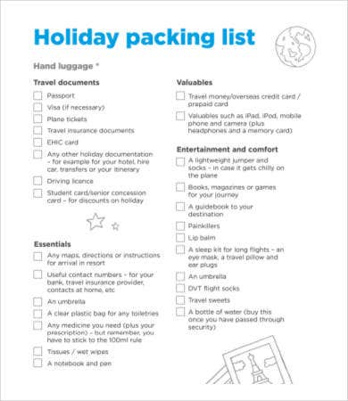 holiday packing checklist