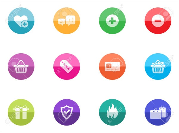 colorful e commerce circle icons