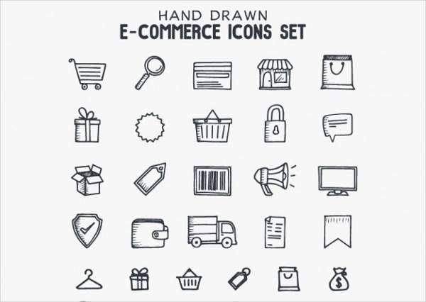 hand drawn e commerce icons set
