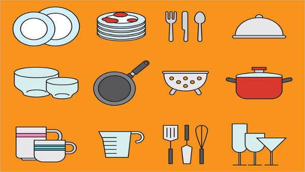 set of kitchen icons pack