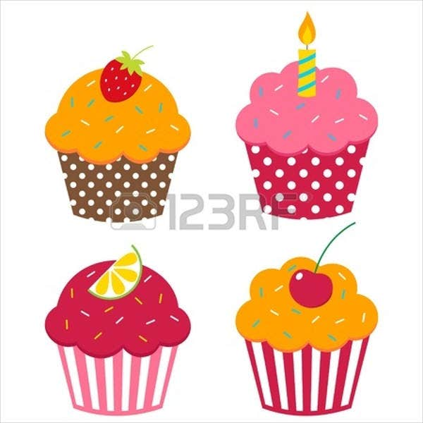birthday cupcake vector1