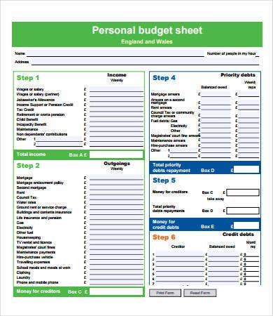 Budget Forms Editable Family Budget Worksheets Free Printable