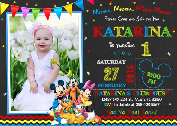 8 Mickey Mouse Birthday Invitation Designs Amp Templates